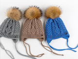 KB110 Kids Beanie with  Pompom and Soft Lining Blue