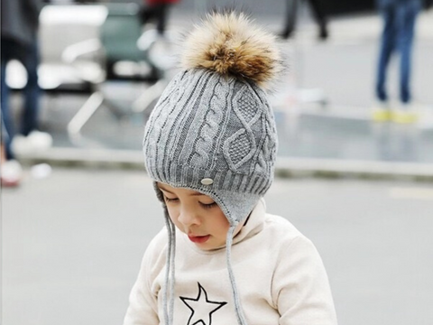 KB110 Kids Beanie with  Pompom and Soft Lining Grey