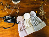 B128 Warm Beanie with Pompom and Soft Lining in  Cream