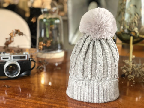 B128 Beanie with Pompom and Soft Lining  in Grey