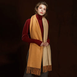 WS104 Warm Scarf Double Sided Mustard