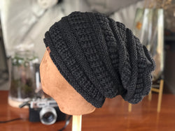 B102 Slouch Beanie Unisex Design in Black and Dark Grey