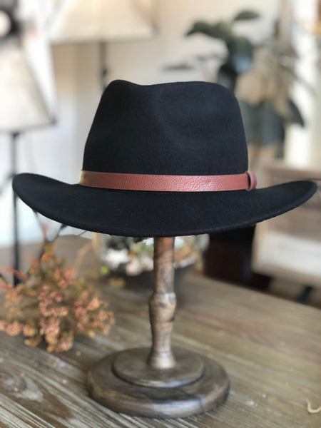 FH116 Wide Brim Wool Felt Hats Cowboy Black