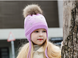 KB108 Kids Beanie with Pompom and Soft Lining Purple