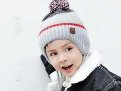 KB102 Kids Beanie with Pompom and Soft Lining Grey