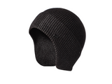 B20101 Beanie with Ear Flap Unisex Design in Black Charcoal Navy