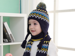KB101 Kids Beanie with Pompom Lined in Navy with 2 sizes