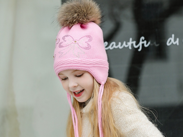 KB108 Kids Beanie with Pompom with Soft Lining Pink