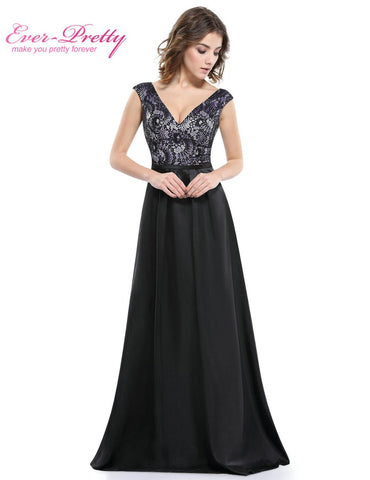 Black Mother of the Bride Dresses Ever Pretty HE08831 Sexy V-neck Chiffon Mother of the Bride Dress Plus size Lace Floor length
