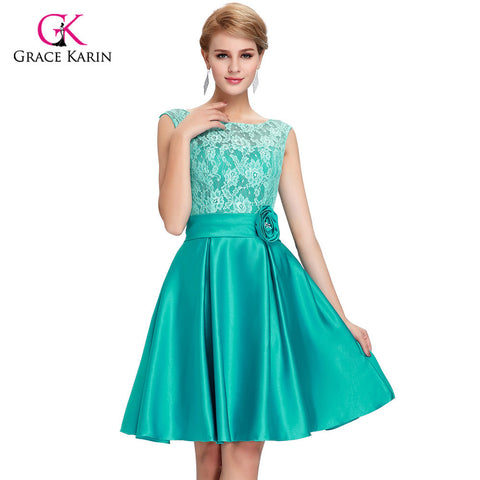 2017 Grace Karin Green Blue Mother of the Bride Dresses short knee length Satin Lace brides mother dresses for weddings 6116