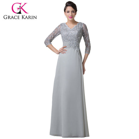 Grey Mother of the bride Dress Grace Karin Long Sleeves Evening Gown Women Chiffon Groom Brides Mother Dresses for Weddings 6247
