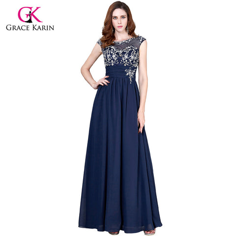 Grace Karin Navy Blue Mother Of The Bride Dresses For Wedding Party Chiffon Special Occasion Dresses Groom Formal Evening Gowns