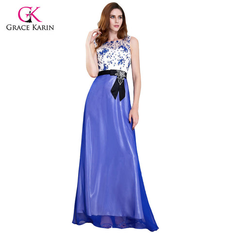 Grace Karin Long Mother Of The Bride Dresses 2017 Summer Dresses Mother Groom Elegant Chiffon Blue Formal Wedding Party Gowns