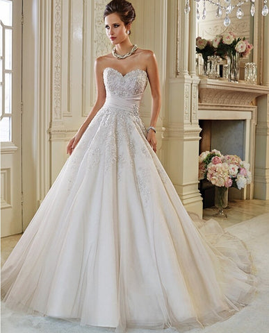Luxury Puffy Sexy Crystal Lace Backless Ball Gown Wedding Dresses 2015 Wedding Gowns Bridal Bride Dresses