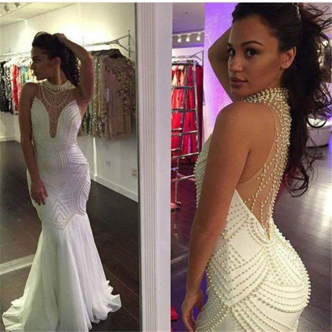 2015 Heavy Beads Luxury Sexy Mermaid Wedding Dresses Wedding Gowns Bridal Bride Dress Vestidos De Novia robe de mariage