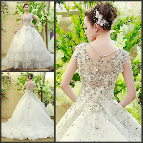 2017 sparkling sexy Luxury wedding dress lace crystal beading wedding gown tiered bride dresses vestido de noiva robe de mariage