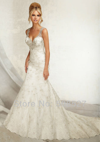 2016 Custom Made Satin Tulle Luxury Appliques Beading Sequins Lace Sexy Blackless Mermaid Wedding Dress Bride Dress