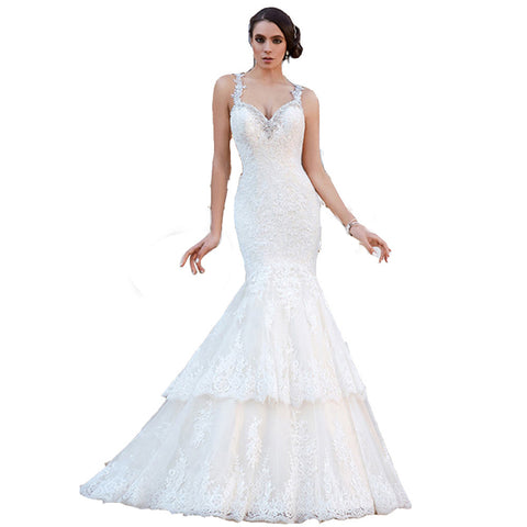 2016 New Custom Made Luxury Appliques Beading Crystal Tulle Sexy Lace Backless Mermaid Wedding Dress Bride Dress Bridal Gowns