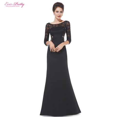 Mother of the Bride Dresses Ever Pretty HE08419BK Women Elegant Rhinestone 3/4 Sleeve Lace Long Mother of the Bride Dresses