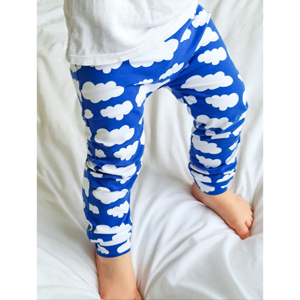 Clouds Royal Blue Print Baby & Child Leggings