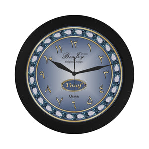 Elegant Black Wall Clock Arabic Dial Personalize Name {Yusuf} By BenJoy