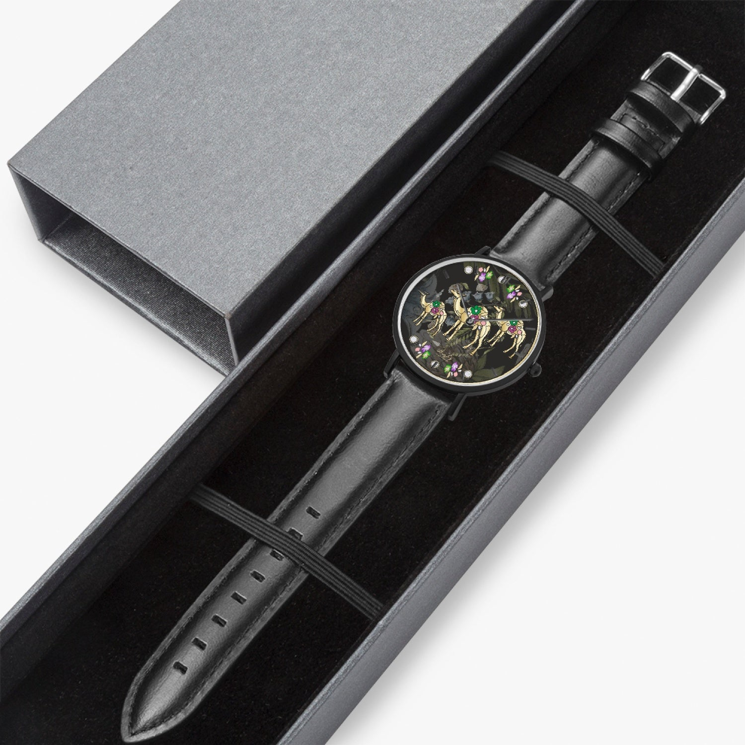 163. Hot Selling Ultra-Thin Leather Strap Quartz Watch (Black With Indicators)