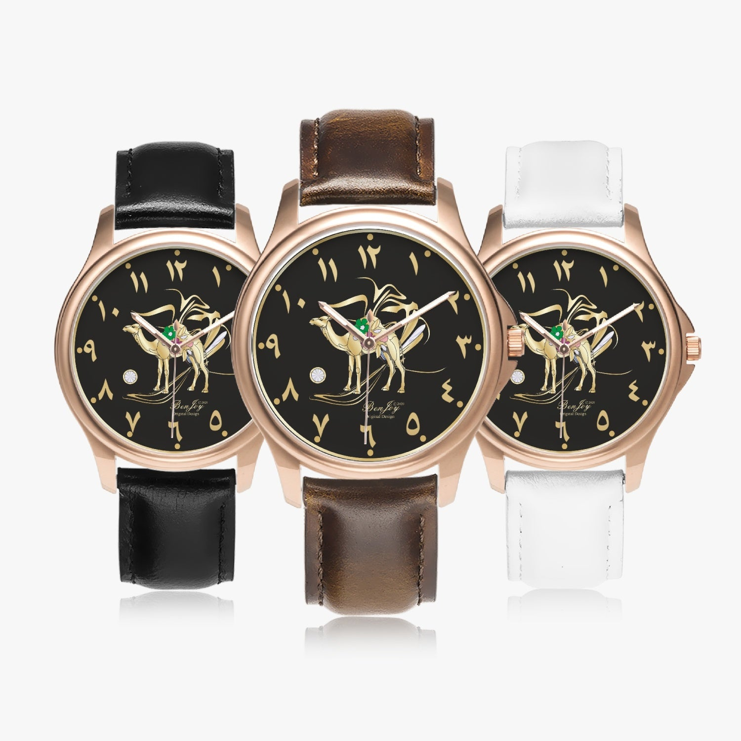 Camel Torch Rose Gold Leather Watch by BenJoy