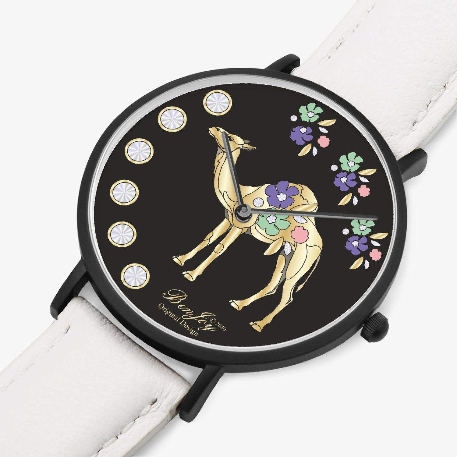 Ultra Thin Camel Floral Watch By BenJoy