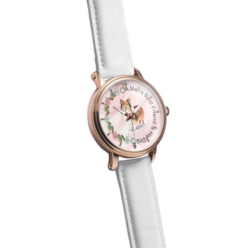 A Man's Bestfriend Is His Dog Pink And White Watch By BenJoy