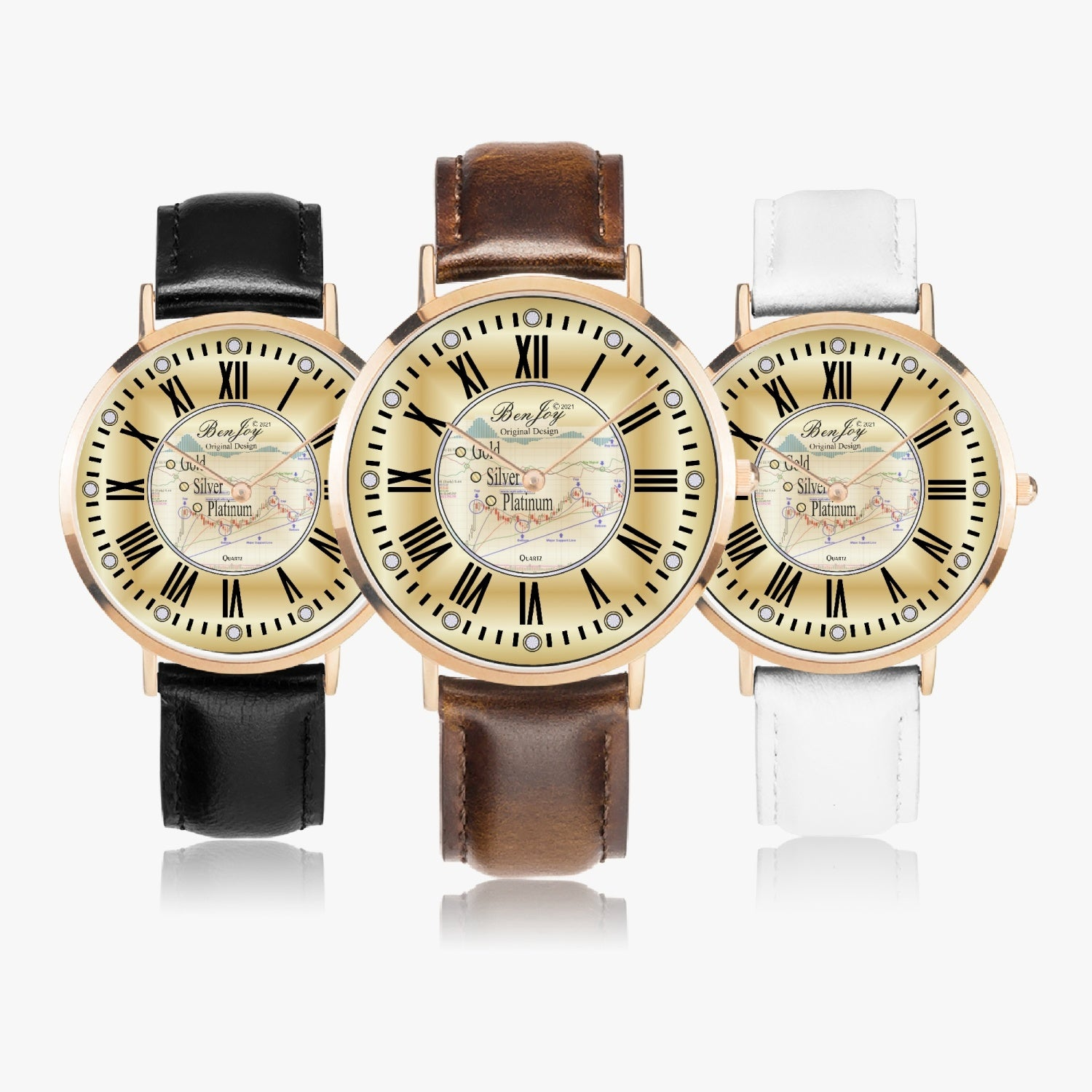 Stock Chart Ultra-Thin Leather Strap Quartz Watch (Rose Gold) By BenJoy