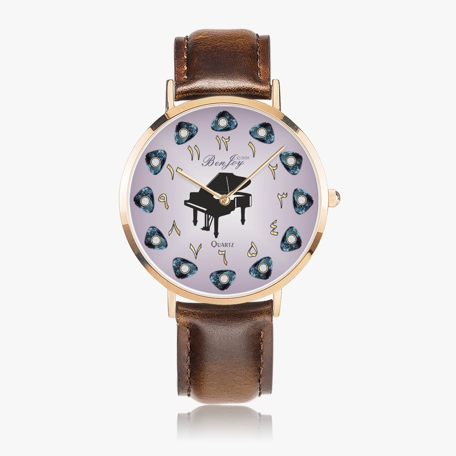 Arabic Piano Ultra-Thin Leather Strap Watch (Rose Gold) By BenJoy