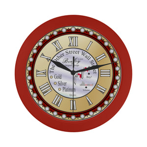 Wall Street Chart Design Gold Silver Platinum Elegant Red Wall Clock By BenJoy