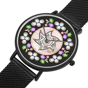 Floral Pink And Black Judaic Watch By BenJoy