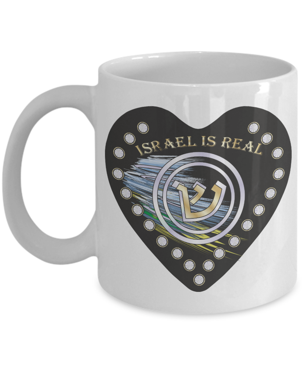 Israel Is Real Initial Black Heart Mug By BenJoy