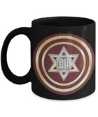 Star Of David Gold Lining Maroon Round Mug By BenJoy