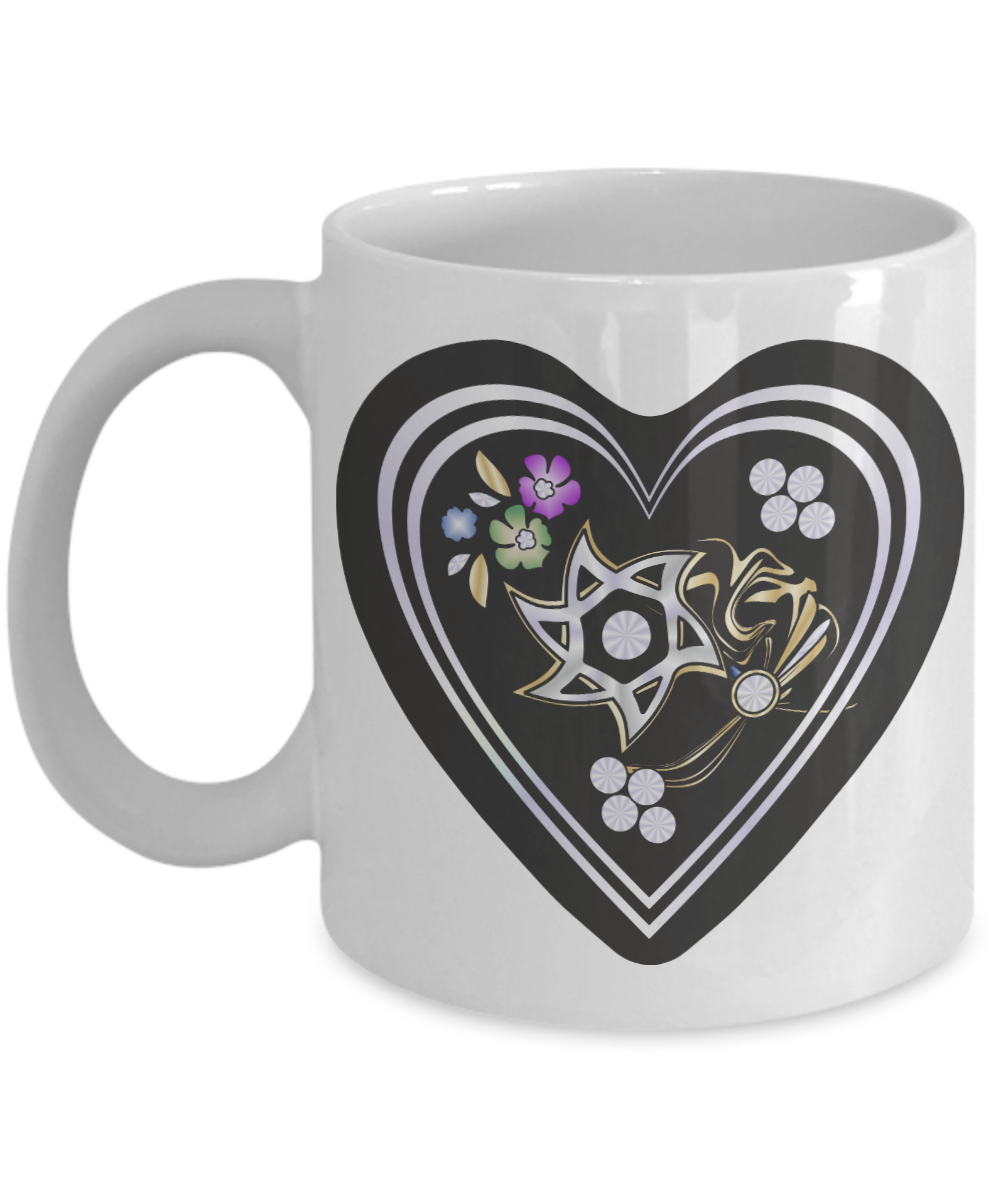 Star Of David Torch Black Heart Mug By BenJoy