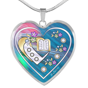 Judaic Ten Commandments Blue Heart Necklace By BenJoy