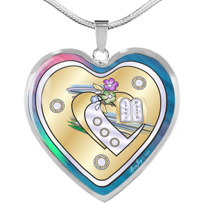 Judaic Ten Commandments Double Heart Necklace By BenJoy