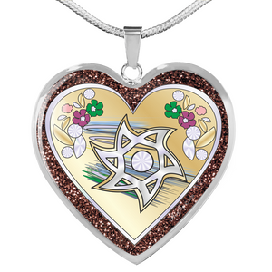 Glitter Judaic Star of David Gold Heart Necklace By BenJoy