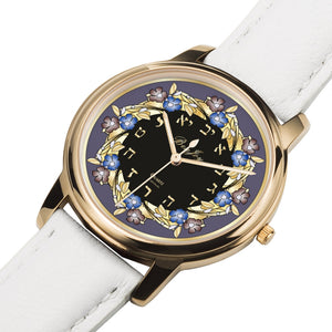 Round Floral Judaica Watch By BenJoy