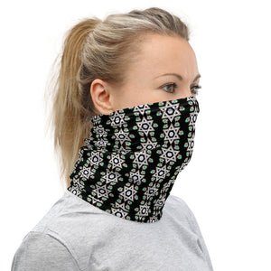 Silver Star Of David Green Flower Neck Gaiter