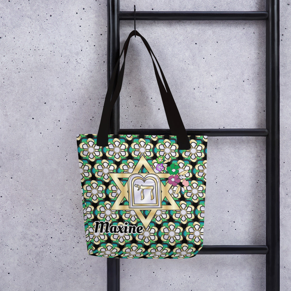Festive Star Of David Personalized Tote Bag