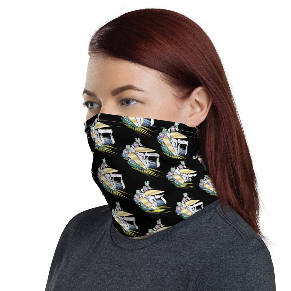 Chai Floral Ray Of Color Black Neck Gaiter