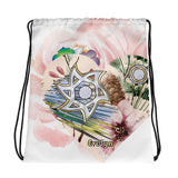 Personalized Star Of David Flower Drawstring Bag By BenJoy