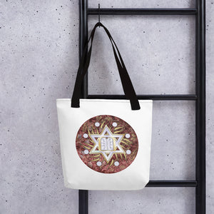 Star Of David Ten Commandments Glitter Red Tote Bag By BenJoy