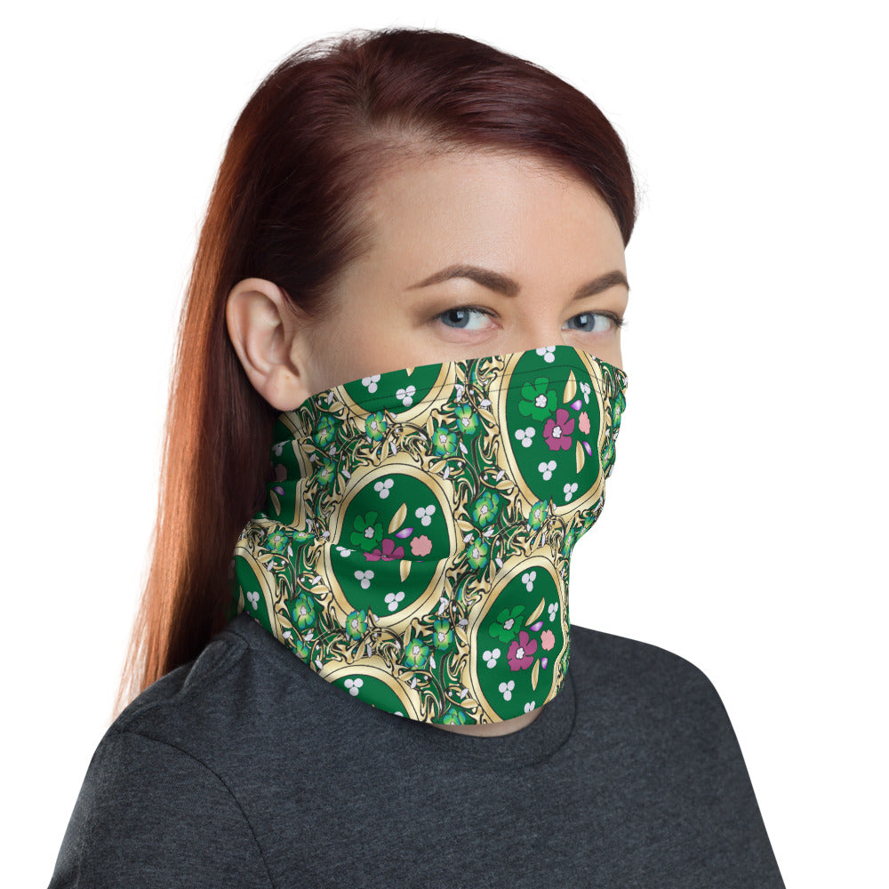 Gold And Green Floral Neck Gaiter