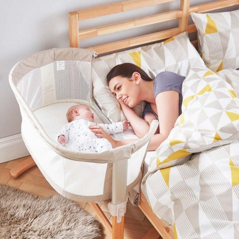 Purflow Breathable Bedside Crib Natural - Hushabyebaby.co.uk