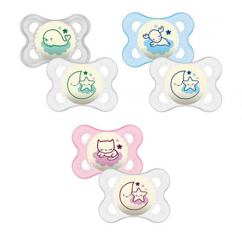 MAM Night 0+ month Soother x 2 Assorted - Hushabyebaby.co.uk