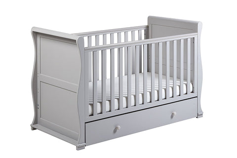 East Coast Nursery Alaska Sleigh Cotbed with Drawer - Grey - Hushabyebaby.co.uk