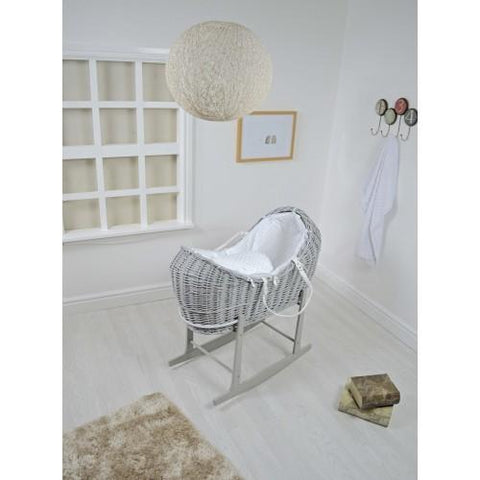 Grey Wicker Pod With White Dimple Fabric - hushabyebaby-co-uk.myshopify.com